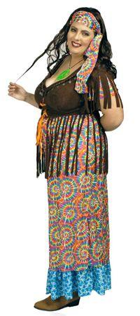 Hippie Kostüm Damen langes Kleid Wahrsagerin große Größen Karneval Fasching  – Bild 3