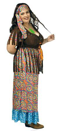 Hippie Kostüm Damen langes Kleid Wahrsagerin große Größen Karneval Fasching  – Bild 1