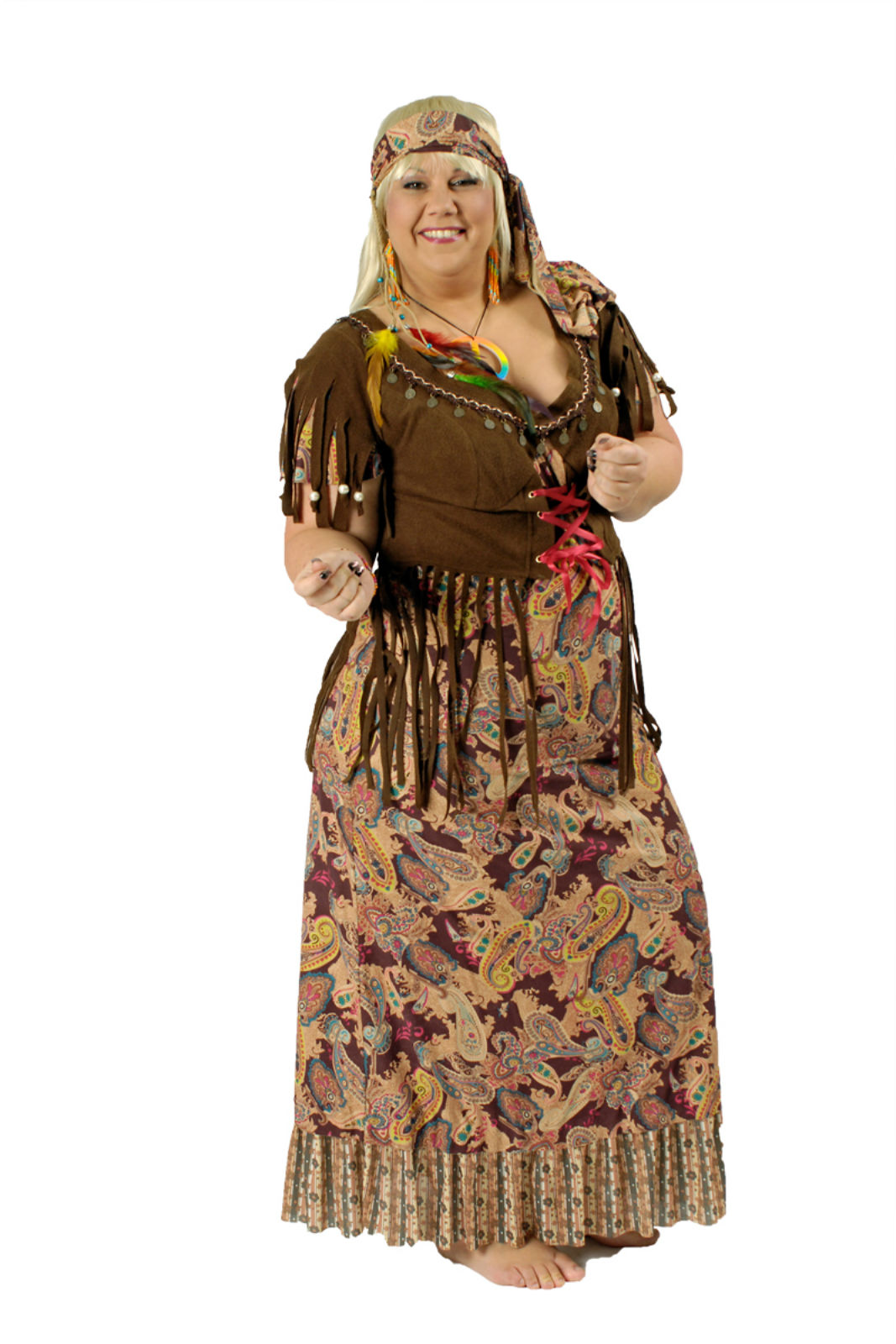 kostüm hippiekostüm damen langes hippie kleid gr44/46 festival karneval  fasching