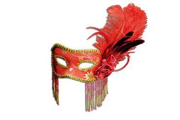 Maske Commedia rot/gold m. Federn Maskenball Venezia Karneval Halloween NEU – Bild 1