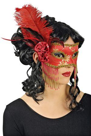 Maske Commedia rot/gold Cosplay Maskenball Augenmaske Venezia Karneval Halloween – Bild 2