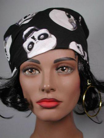 Kostüm Accessoires Halstuch schwarzes Kopftuch mit Totenköpfen Karneval Fasching – Bild 1