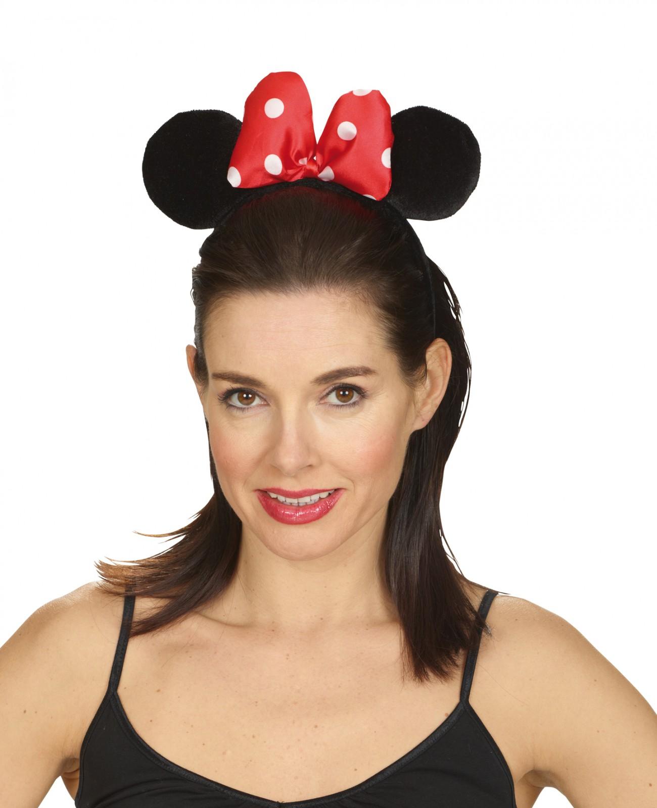 Haarreif Maus Mausohren Schwarz M Schleife Mouse Karneval Fasching
