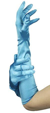 lange Handschuhe türkis ca48 cm Nixe Meerjungfrau u.ä. Fasching Karneval Kostüm – Bild 1