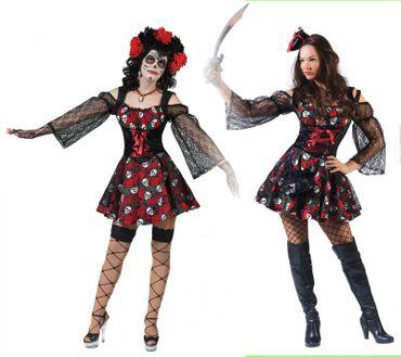 Piraten Kostüm Damen Dia de los Muertes Gr.36-46 Pirat Halloween Fasching Mexiko – Bild 1