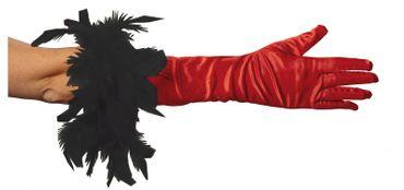 Kostüm Handschuhe lang schwarz o. rot mit schwarzer Boa Karneval Fasching – Bild 2
