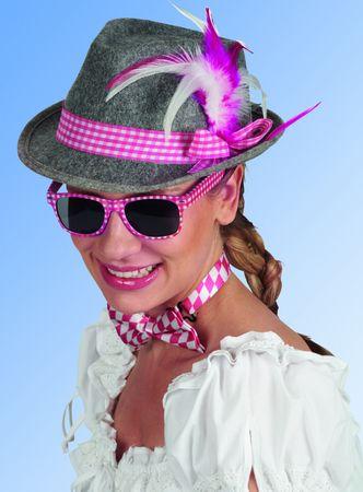 grauer Trachtenhut Brille Schleife pink/weiß Karneval Oktoberfest Schlagerparty