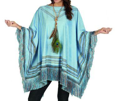 Exclusives Kostüm Poncho m Fransen Cape Mexikaner Western Hippie Wildlederoptik – Bild 1
