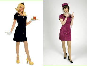 Stewardess Kostüm Uniform Hostess Flugbegleiterin blau oder magenta Karneval – Bild 1