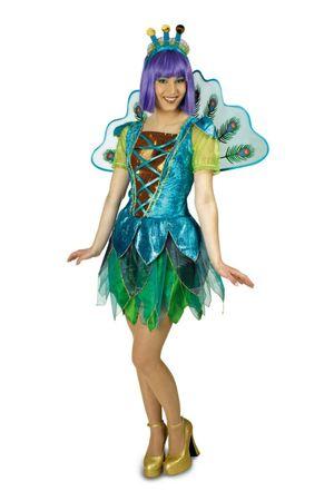 Kostüm Pfau Damen Haarreif Flügel Vogel Kleid Pfauenkostüm Gr.34-46 Karneval  – Bild 1
