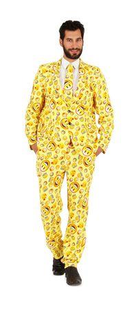 Kostüm gelber Anzug Lustige Smiley Faces Herren Karnevalsanzug Karneval Fasching – Bild 3