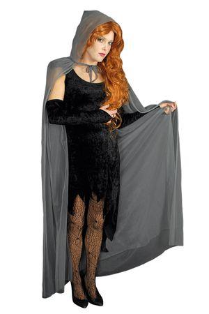 Umhang graues Cape m Kapuze Geisterumhang Kutte grau Halloween Karneval Kostüm – Bild 1