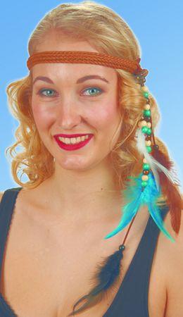 Kostüm Accessoires Stirnband mit Perlen und Federn Indianerin Hippie Karneval