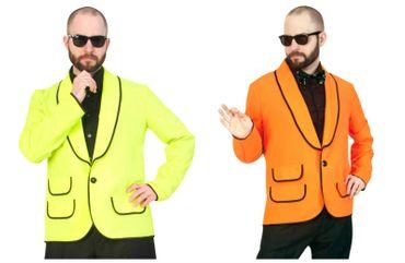 Kostüm Jacke Herren Sakko Jackett neon gelb od orange Bühne Show Karneval – Bild 1