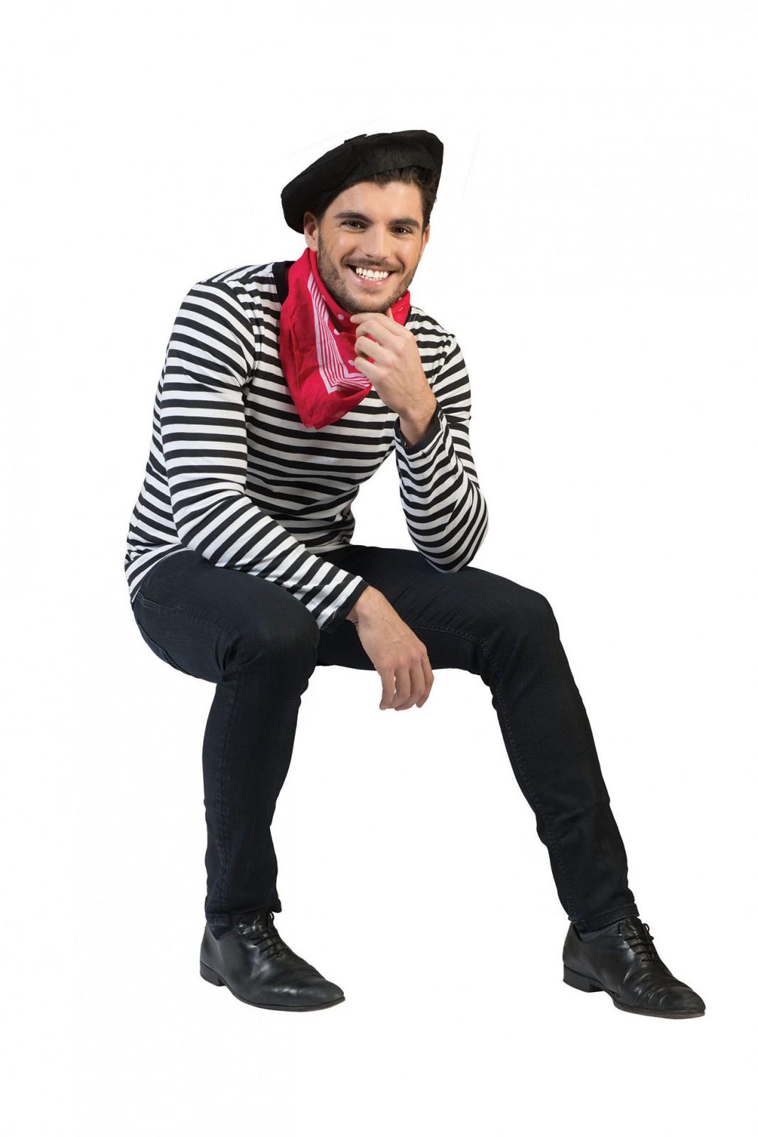 Kostum Ringelshirt Schwarz Weiss Franzose Pantomime Clown Karneval