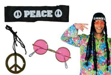 Hippie Set 3tlg. Stirnband Brille Peace Amulett Kostüm Hippie Karneval Fasching – Bild 1