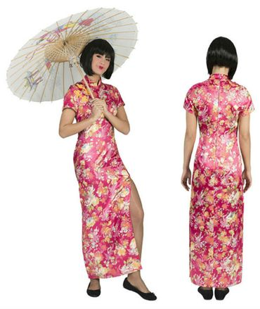Chinesin Kostüm Damen Geisha Kleid Japanerin Asiatin Gr.36-46 Karneval Fasching
