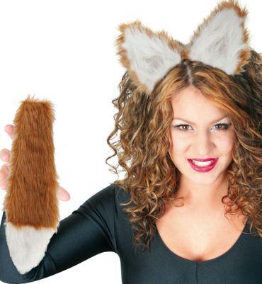Fuchs Set 2tlg Haarreif Schwanz Fuchskostüm Tierkostüm Zubehör Karneval Fasching – Bild 2