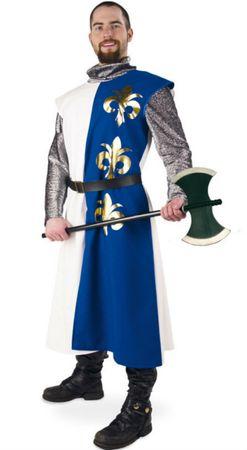 Ritter Kostüm Herren blau/weiß Mittelalter Musketier Chevalier Fasching Karneval – Bild 1