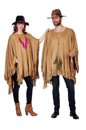 Kostüm Poncho Umhang Hippie Cowboy Mexikaner Western Indianer Wildlederoptik – Bild 1