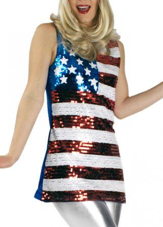 Kostüm Pailletten Top Miss Amerika American Girl USA Gr.34-42 Karneval Fasching – Bild 1