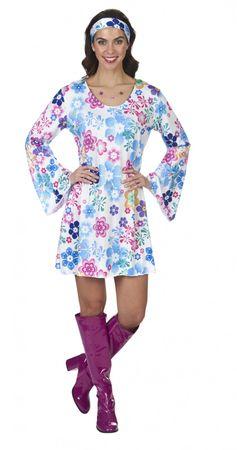 Kostüm Hippie Kleid Partykleid 70er Jahre Boho Blumen Gr.36-46 Fasching Karneval – Bild 1
