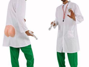 witziges Kostüm Arzt Kittel mit nacktem Po Proktologe Arztkostüm Karneval  – Bild 1