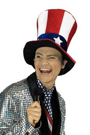 Hoher Zylinder amerikanische Farben Texas USA Hut Amerikahut Karneval Fasching – Bild 3