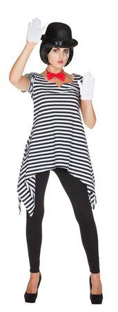 Kostüm Tunika Ringelshirt Ringelhemd schwarz weiß 36-52 Harlekin Clown Karneval  – Bild 2