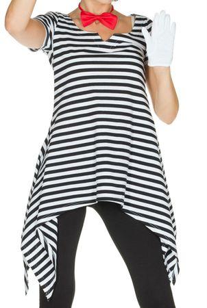 Kostüm Tunika Ringelshirt Ringelhemd schwarz weiß 36-52 Harlekin Clown Karneval  – Bild 1