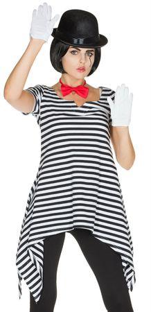 Kostüm Tunika Ringelshirt Ringelhemd schwarz weiß 36-52 Harlekin Clown Karneval  – Bild 3
