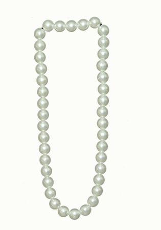Kostüm Halsschmuck Kette protzige Perlenkette weiß Karnevalsschmuck Fasching – Bild 1