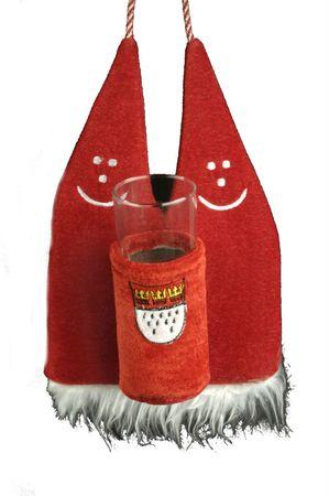 Kölschglashalter rot mit Dom Köln Glashalter z Umhängen Karneval Fasching – Bild 1