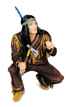 excl. Indianerkostüm Herren Indianer dunkelbraun Wildlederoptik Western Karneval – Bild 2