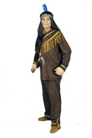 excl. Indianerkostüm Herren Indianer dunkelbraun Wildlederoptik Western Karneval – Bild 3