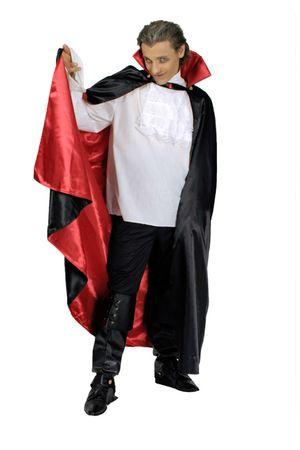 Dracula Kostüm Cape Umhang Vampir Vampirumhang schwarz rot Halloween Karneval – Bild 1