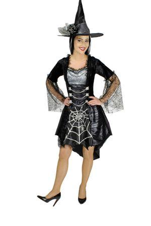 Kostüm Halloween Spinnenhexe Hexe Teufelin Hexenkostüm m Hut Gr.36-46 Karneval – Bild 1
