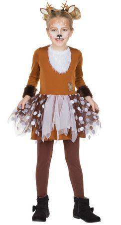 Kinder Kostüm Rehkitz Rehkostüm Reh Kleid Gr.128 140 braun Karneval Fasching