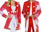 Kostüm Frack rot/weiß Kölnjacke Elferrat Patchworkoptik Uniform Karneval Köln