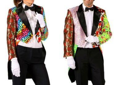 Patchworkjacke edler Frack Damen Herren Patchwork bunte Jacke Kostüm Karneval – Bild 1