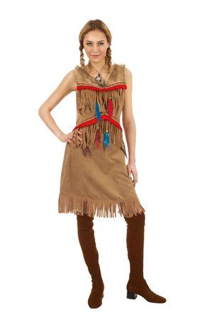Indianerkostüm Damen Herren Indianer Wildlederoptik Western Karneval Fasching – Bild 3