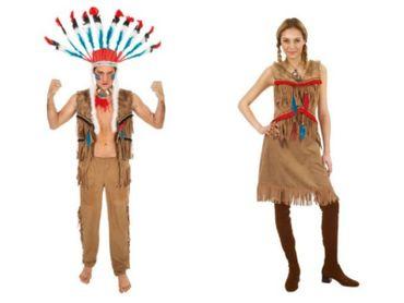 Indianerkostüm Damen Herren Indianer Wildlederoptik Western Karneval Fasching – Bild 1
