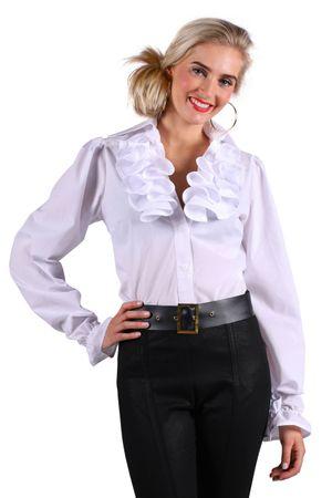 Kostüm weiße Rüschenbluse Bluse mit Jabot Historisch Piratin Gr. S-XXL Karneval  – Bild 1