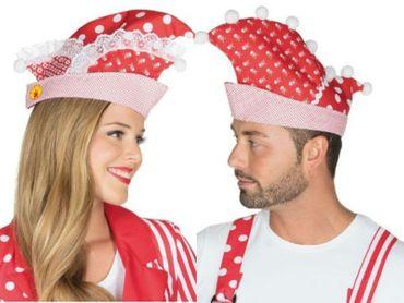 Narrenkappe rot / weiß Prinzenkappe Prunkmütze Karneval Mütze Köln Hut Fasching – Bild 1