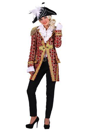 excl. Frack Damen rot Karnevalsjacke Mantel Karneval Piratin Uniform Damenjacke – Bild 1
