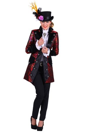 Excl. Frack Damen Herren dunkelrot Jacke Gehrock Zauberer Bühne Show Kostüm – Bild 3