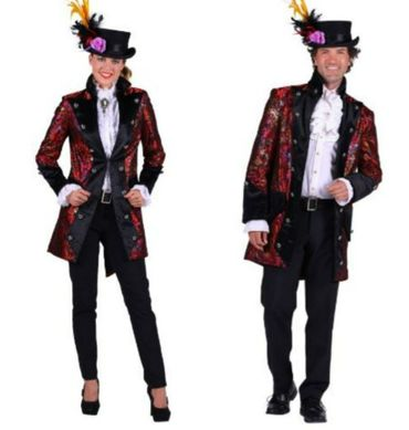 Excl. Frack Damen Herren dunkelrot Jacke Glitter Gehrock Zauberer Bühne Show – Bild 1