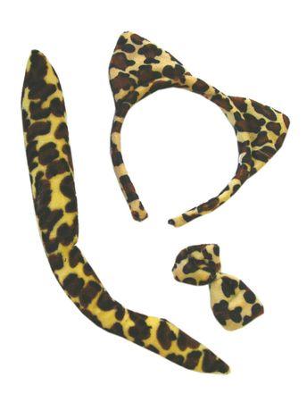 Set Leopard Ohren Haarreif Schwanz Fliege Tier Kostüm Zubehör Karneval Fasching – Bild 1