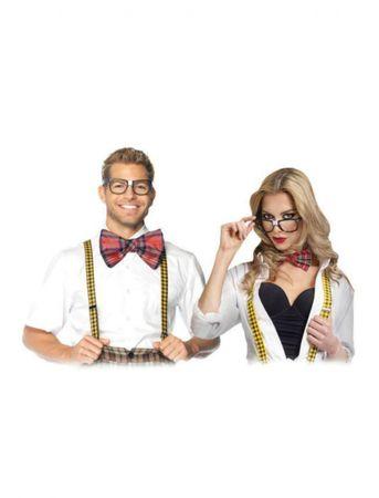 Nerd Set Brille Fliege Hosenträger Streber Lehrer Clown Party Karneval Fasching – Bild 1