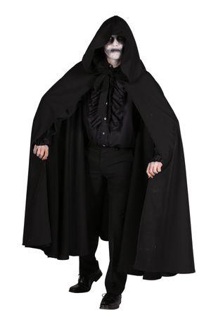 Kostüm schwarzer Mantel Umhang Kutte m Kapuze Dark Rave Halloween Karneval – Bild 1
